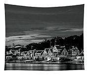 Boathouse Row Philadelphia Pa Night Black And White Tapestry