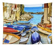 Boats At Cinque Terre Tapestry
