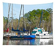 Boats In The Water Tapestry