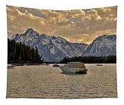 Boats On Jackson Lake At Sunset Tapestry