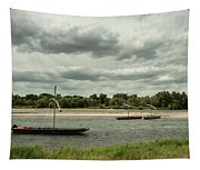 Boats On River Loire - France Tapestry