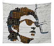 Bob Dylan Minnesota Native Recycled Vintage License Plate Portrait On White Wood Tapestry