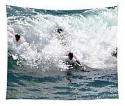 Body Surfing The Ocean Waves Tapestry