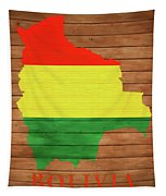 Bolivia Rustic Map On Wood Tapestry