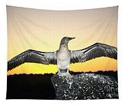 Booby At Sunset Tapestry