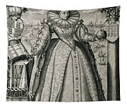 Book Frontispiece Celebrating Queen Elizabeth I's Happy And Prosperous Reign Tapestry
