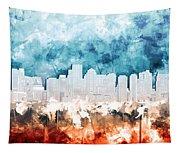 Boston City Skyline Watercolor 2 Tapestry