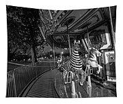 Boston Common Carousel Boston Ma Black And White Tapestry