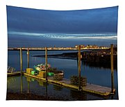 Boston Ma Belle Isle Boat Pier And Skyline Logan Airport Tapestry