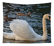 Boston Public Garden Swan Amongst The Ducks Ruffled Feathers Tapestry