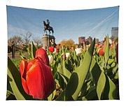 Boston Public Garden Tulips And George Washington Statue 2 Tapestry