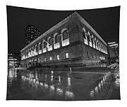 Boston Public Library Rainy Night Boston Ma Black And White Tapestry