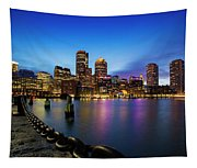 Boston Skyline At Dusk Tapestry