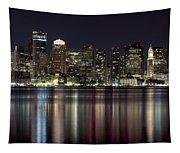 Boston Skyline At Night Tapestry