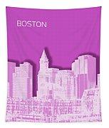 Boston Skyline - Graphic Art - Pink Tapestry