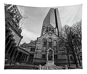 Boston Trinity Church And Hancock Building Boston Ma Black And White Tapestry