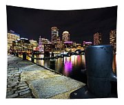 Boston Waterfront Skyline View Boston Ma Tapestry