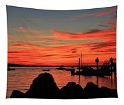 Rock Sunset Silhouette Tapestry