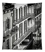 Bourbon Street Morning-bw-nola Tapestry