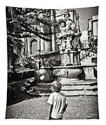 Boy At Statue In Sicily Tapestry