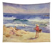 Boy On The Sand Tapestry