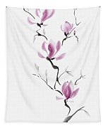 Branch Of Blooming Purple Magnolia Flowers Japanese Zen Sumi-e P Tapestry