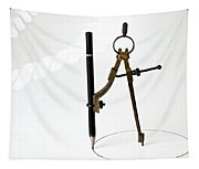 Brass Compass And Pencil Tapestry