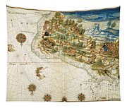 Brazil: Map And Native Indians Tapestry