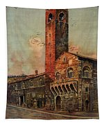 Brescia, Italy - Birds Flying Around Tower - Retro Travel Poster - Vintage Poster Tapestry