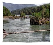 Bridge Across Mountain River Tapestry