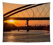 Bridge Sunrise And Boater Tapestry