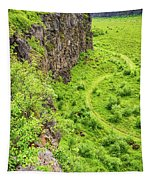 Bright Green Asbyrgi Canyon In Iceland Tapestry