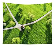 Bright Green Spring Meadow Aerial Photo Tapestry
