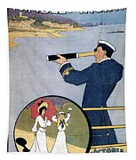 Brighton Railway, England - Isle Of Wight -  Retro Travel Advertising Poster - Vintage Poster  Tapestry