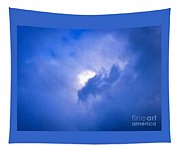 Brilliant Blue Cloud Formation With Sun Glow Tapestry