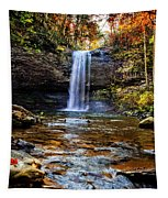 Brilliant Fall Waterfall At Cloudland Canyon Tapestry