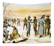 British And German Soldiers Hold A Christmas Truce During The Great War Tapestry