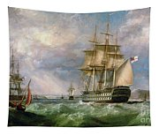 British Men-o'-war Sailing Into Cork Harbour  Tapestry