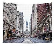 Broad Street Facing City Hall In Philadelphia Tapestry