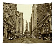 Broad Street Facing Philadelphia City Hall In Sepia Tapestry