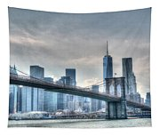 Brooklyn Bridge And The Lower Manhattan Financial District Tapestry