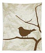 Brown Bird Silhouette Modern Bird Art Tapestry