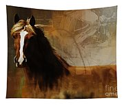 Brown Horse Pose Tapestry