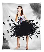 Brunette Pin-up Woman In Gorgeous Feather Skirt Tapestry