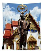 Buddha Statue With Sunshade Outside Temple Hat Yai Thailand Tapestry