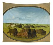Buffalo Chase With Accidents Tapestry