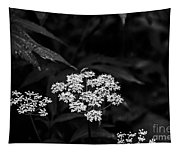 Bug On Flowers Black And White Tapestry