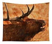 Bugling Bull Elk Autumn Background Tapestry