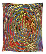 Building Of Circles And Waves Colored Yellow Red And Blue Tapestry