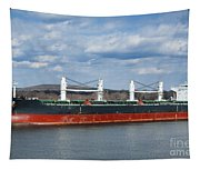 Bulk Carrier Cargo Ship Sailing On River Tapestry